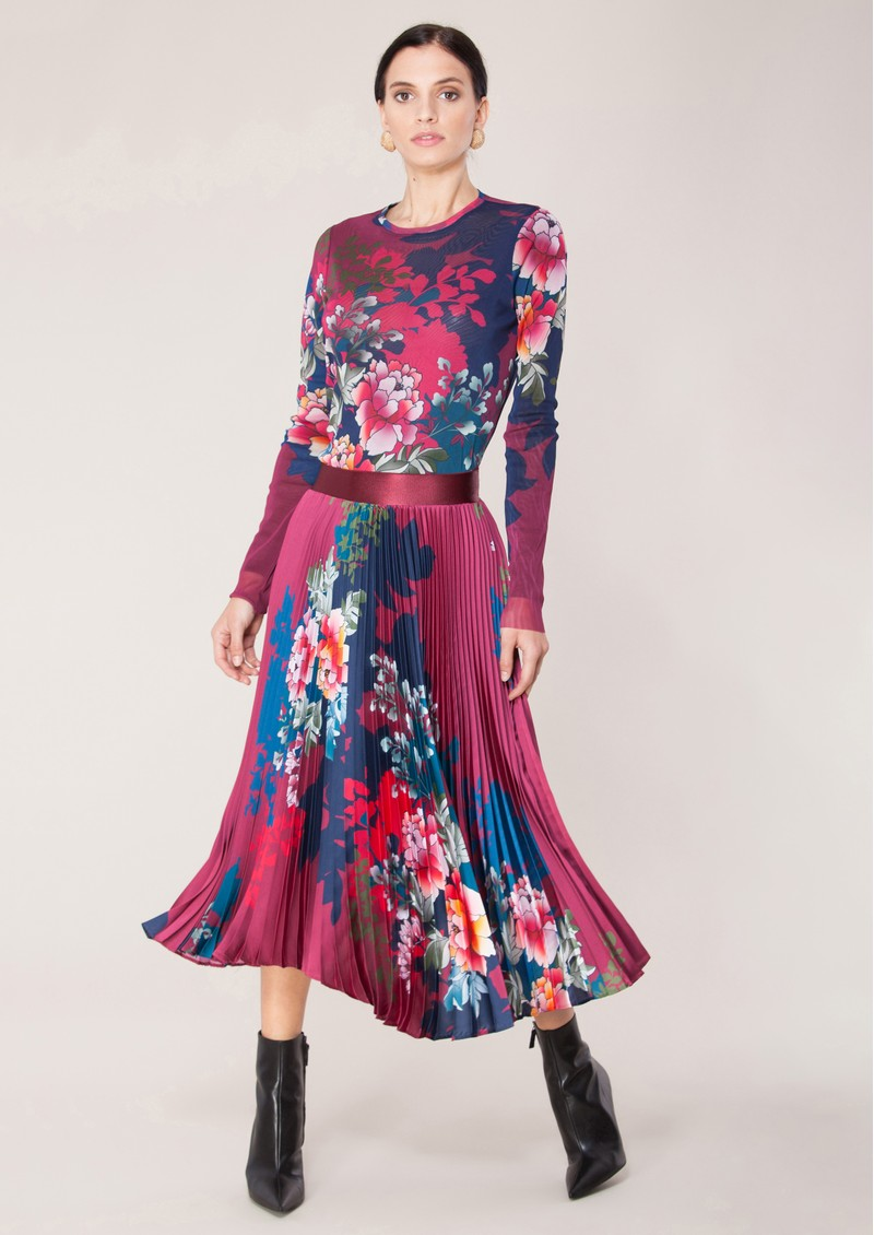 Hale Bob Floral Printed Pleated Skirt - Wine main image