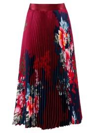 Hale Bob Floral Printed Pleated Skirt - Wine
