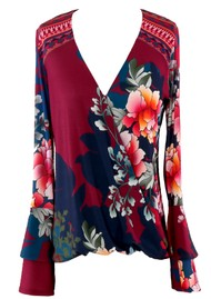 Hale Bob Long Sleeve Floral Printed Top - Wine