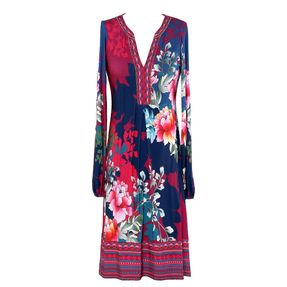 Long Sleeve Printed Dress - Wine