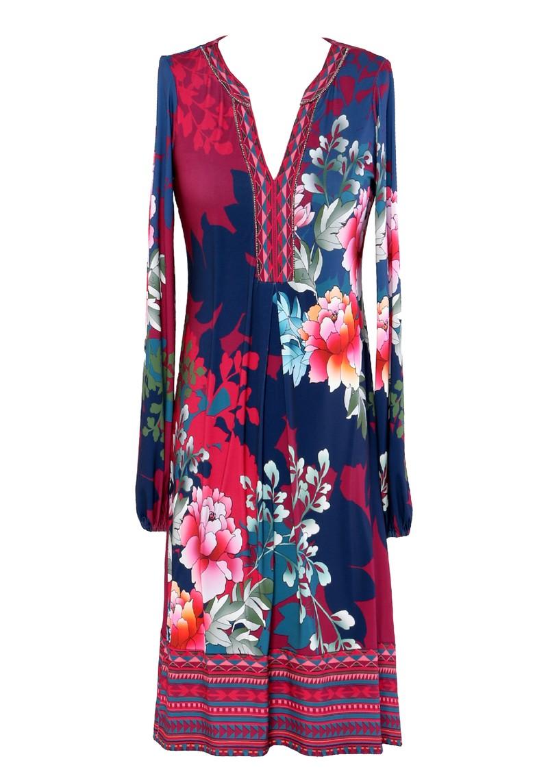 Hale Bob Long Sleeve Printed Dress - Wine  main image