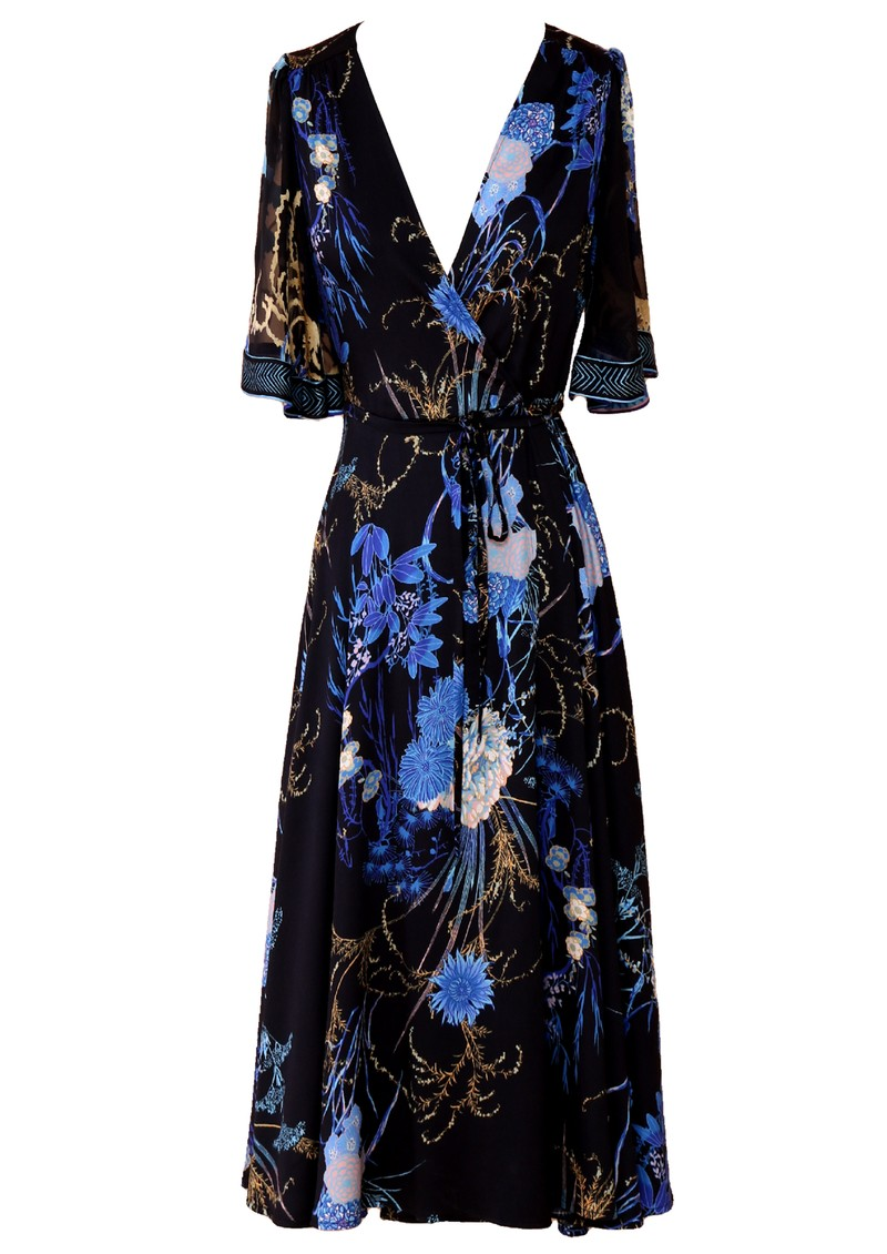Hale Bob Short Sleeve Blue Floral Print Dress - Black main image