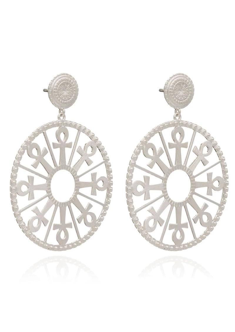 RACHEL JACKSON Key of Life Medallion Earrings - Silver main image