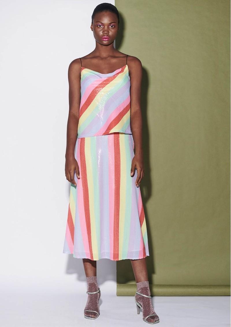 OLIVIA RUBIN Clover Sequin Cami Top - Fall Stripe main image