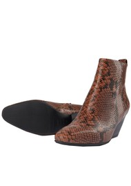SHOE THE BEAR Cleo Python Ankle Boot - Brown