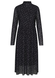 LEVETE ROOM Gilline Polka Dot Midi Dress - Black