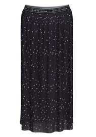 LEVETE ROOM Gilline Polka Dot Midi Pleated Skirt - Black