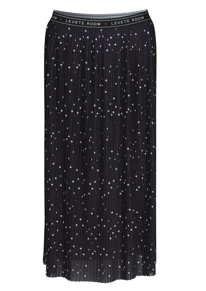 LEVETE ROOM Gilline Polka Dot Midi Pleated Skirt - Black main image