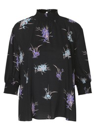 LEVETE ROOM Grita Floral Top 2 - Black