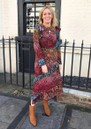 HAYLEY MENZIES Midi Frill Silk Dress - Ombre Croc