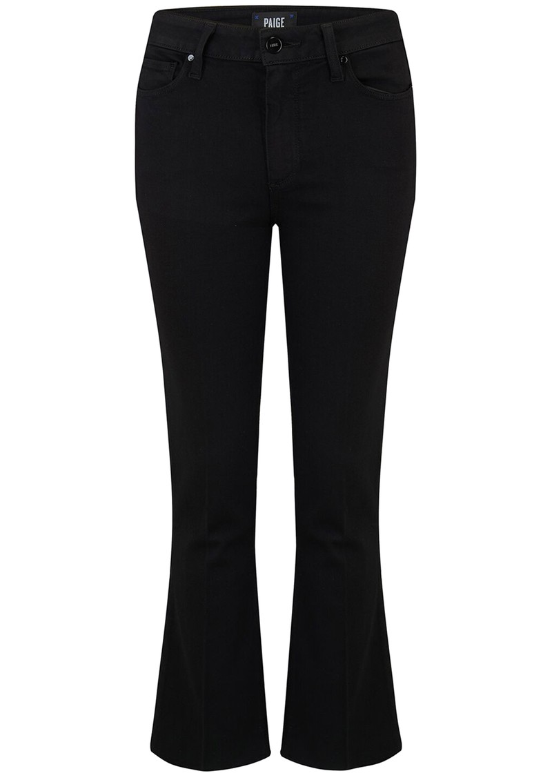 Paige Denim Colette Crop Flare Raw Hem Jeans - Black Shadow main image