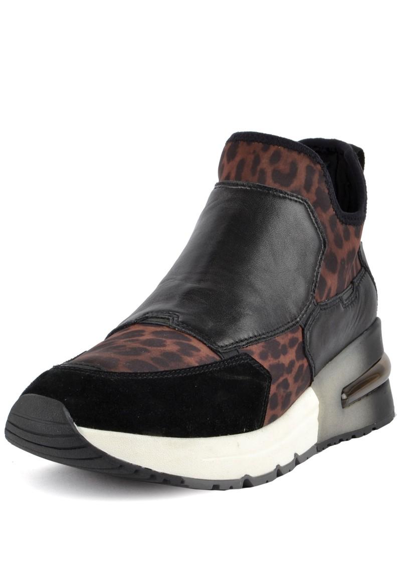 Ash Krystal Leopard Trainer - Black & Leopard main image