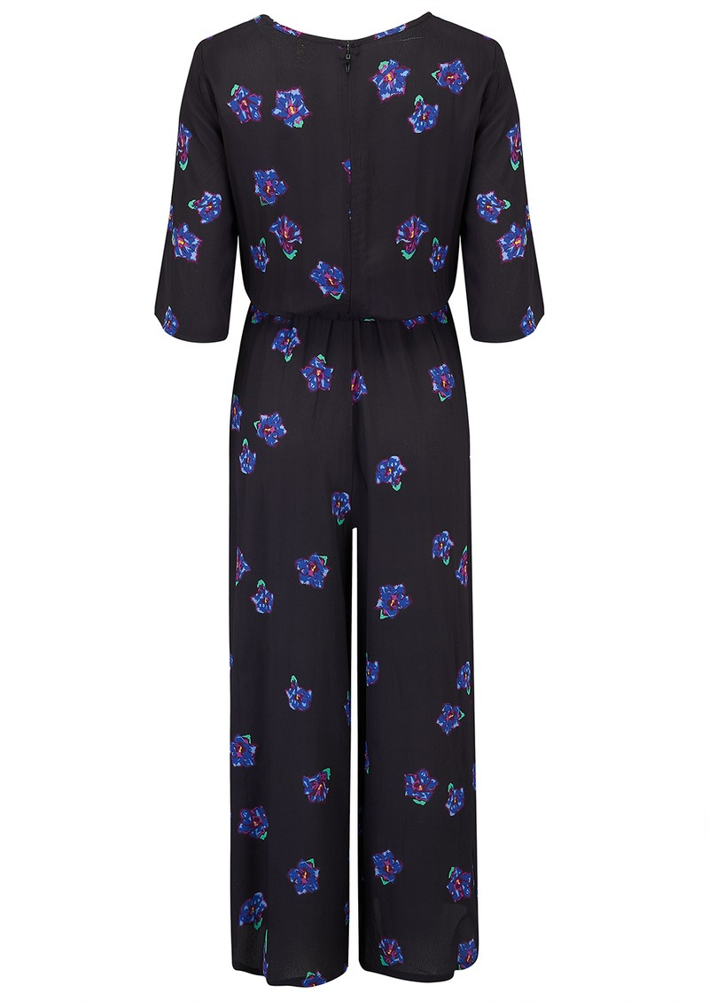BAILEY & BUETOW Beatrice Jumpsuit - Black & Blue Floral main image