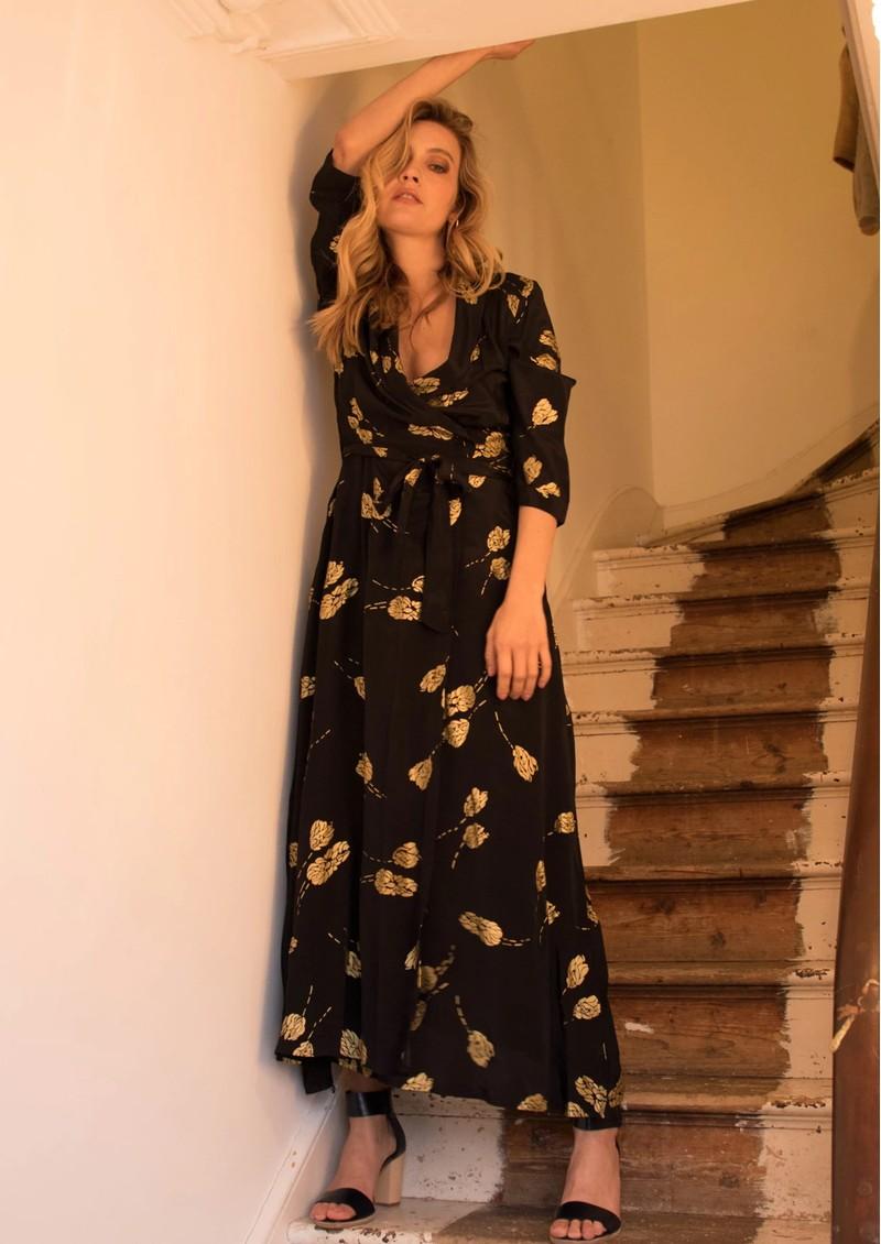 BAILEY & BUETOW Bailey Dress - Black Gold Tulip main image