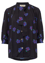 BAILEY & BUETOW Beatrice Top - Black & Blue Floral