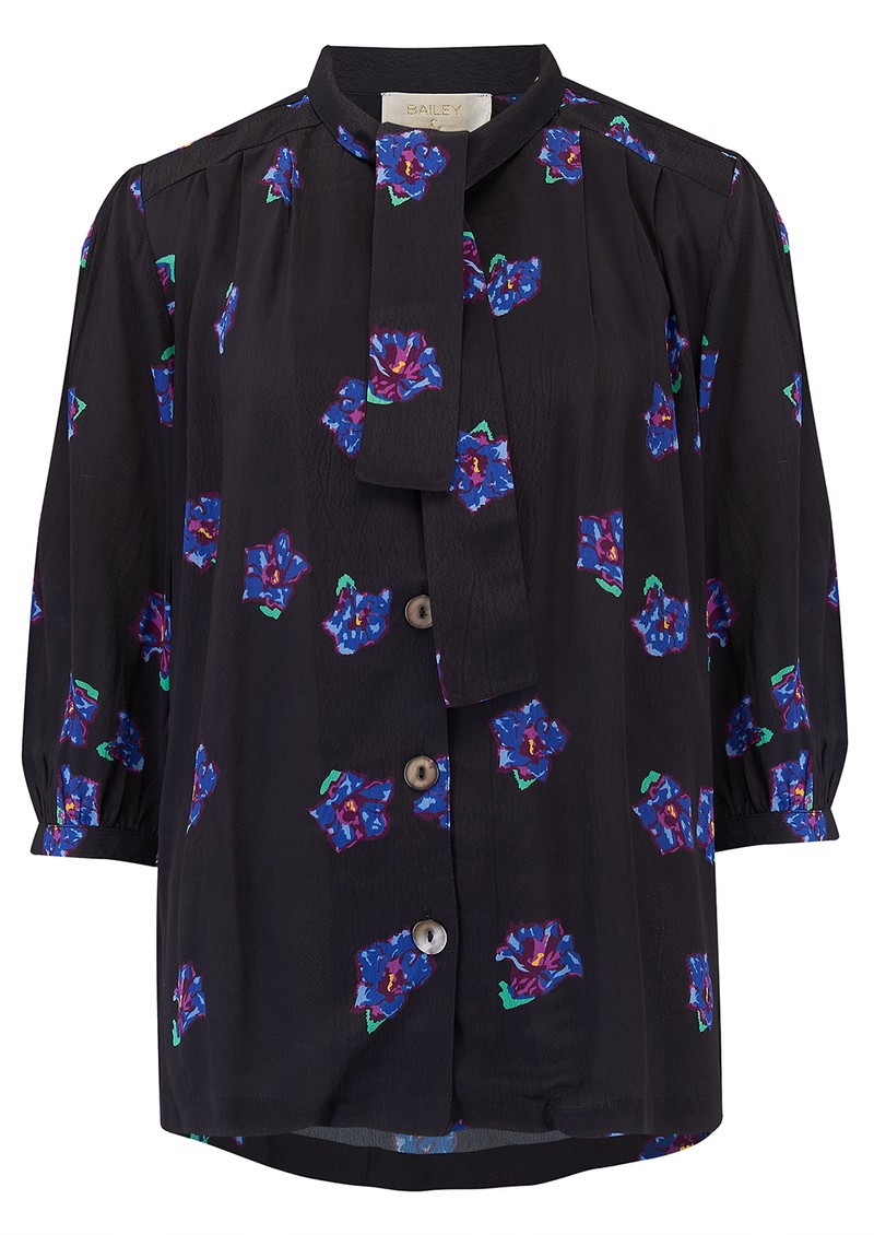 BAILEY & BUETOW Beatrice Top - Black & Blue Floral main image
