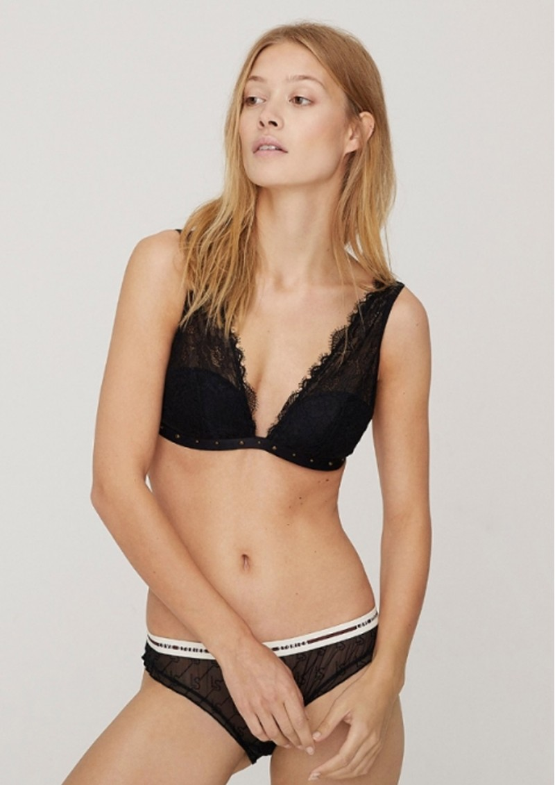 LOVE STORIES Polly Lace Pad Bralette - Black main image