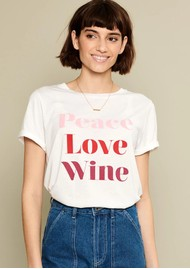 SOUTH PARADE Lola Peace, Love & Wine Slogan T-Shirt - White