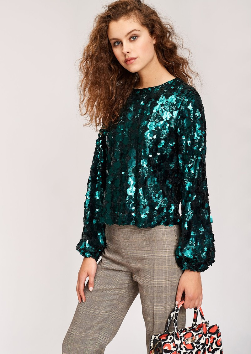 Thirteen Sequin Top - Bosforus Green main image