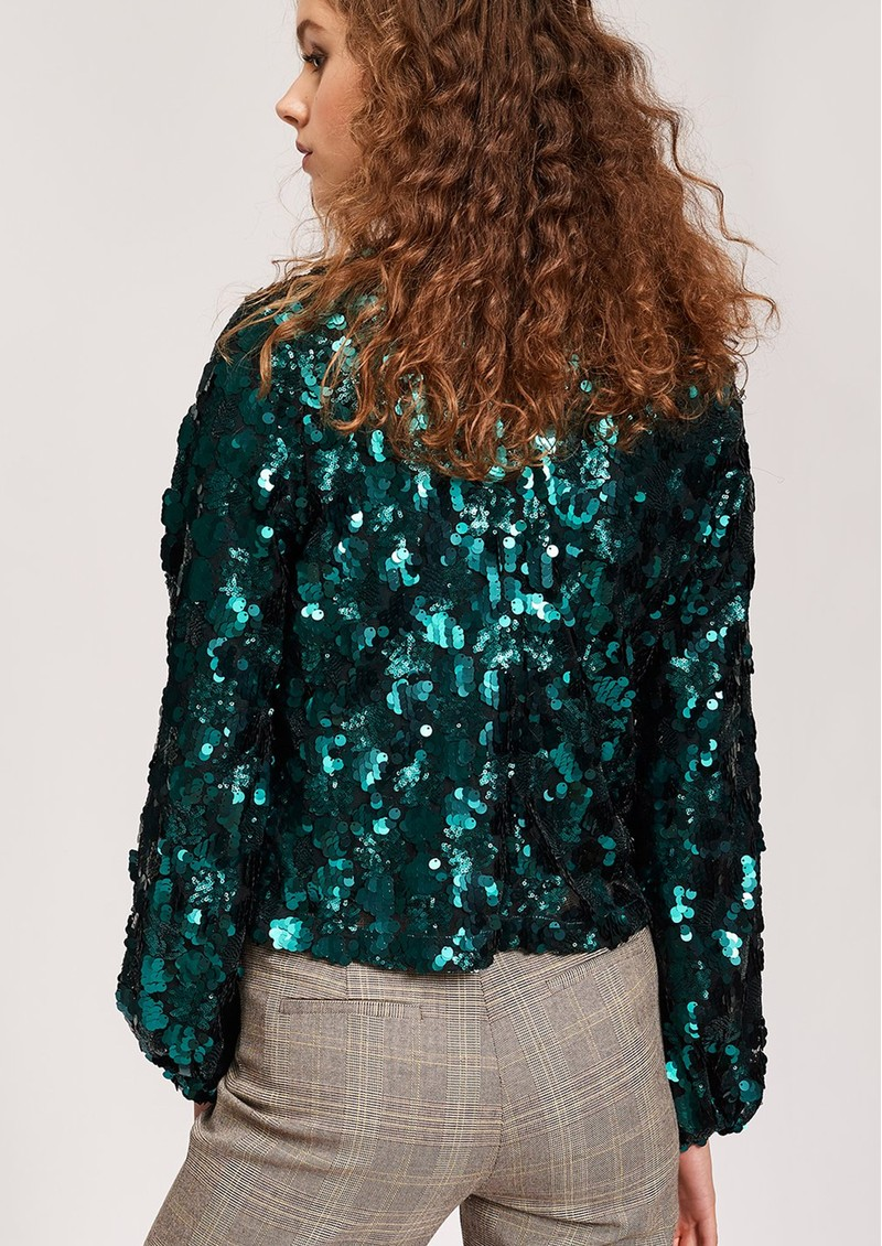 ESSENTIEL ANTWERP Thirteen Sequin Top - Bosforus Green main image