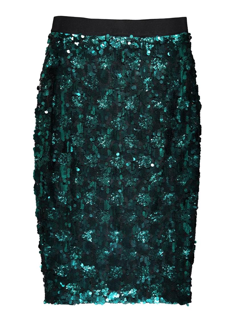 ESSENTIEL ANTWERP Temptation Sequin Skirt - Bosforus Green main image