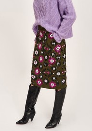 ESSENTIEL ANTWERP Tweedledum Sequin Skirt - Combo 2 Hunter