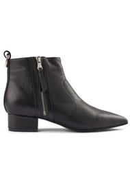 SHOE THE BEAR Linn Zip Leather Ankle Boot - Black