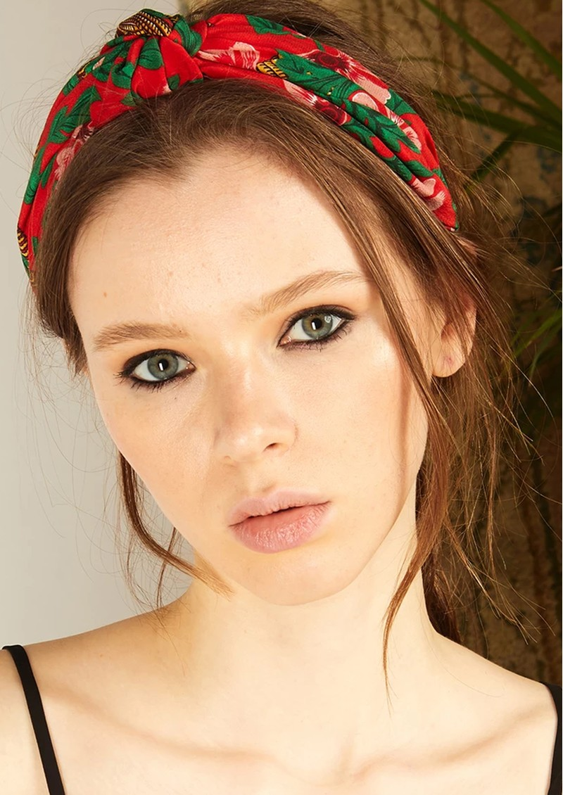 HAYLEY MENZIES Silk Alice Band - Eden Red main image
