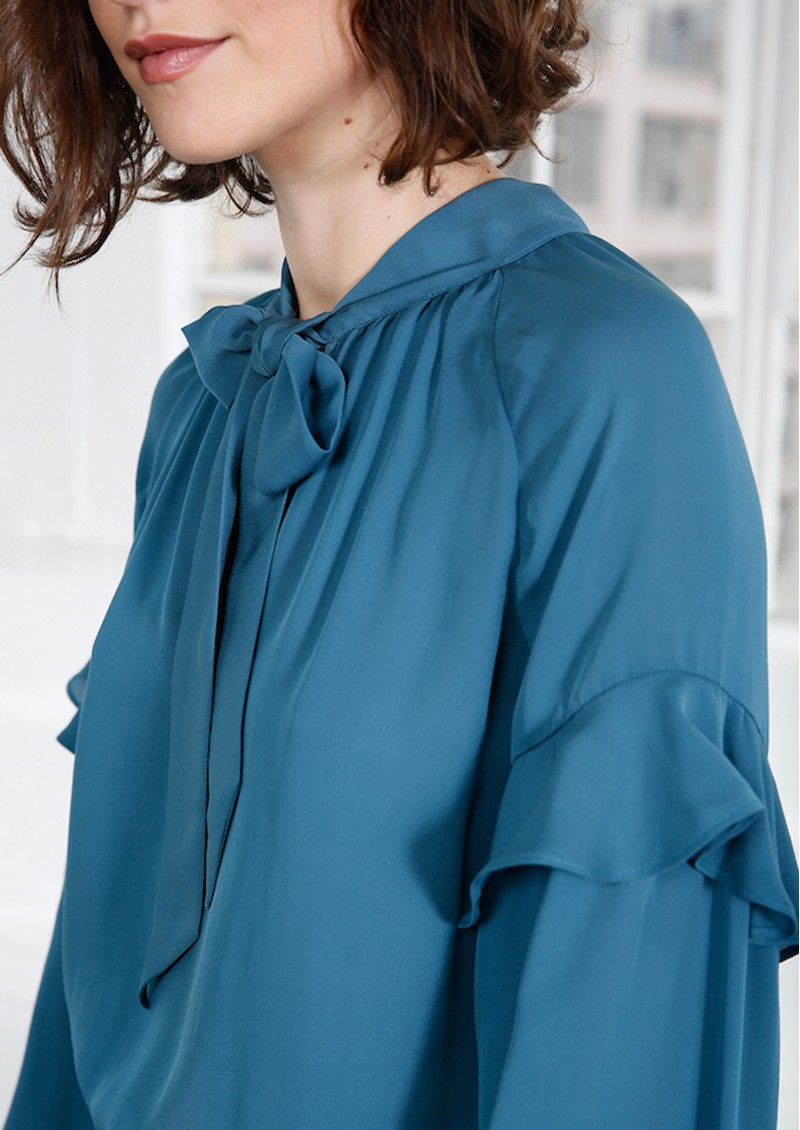 MAYLA Eloise Silk Blouse - Mallard Blue main image