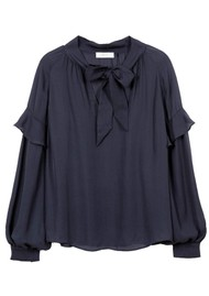 MAYLA Eloise Silk Blouse - Dark Navy