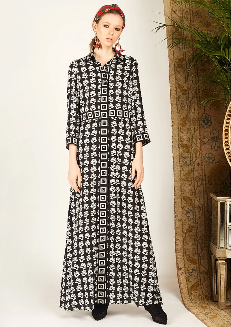 HAYLEY MENZIES Long Silk Shirt Dress - Floral Chain Black main image