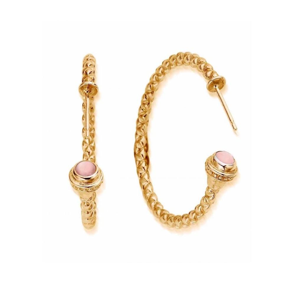 Splendid Star Divine Destiny Hoop Earrings - Gold & Pink Opal