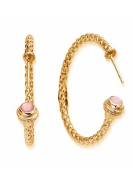 ChloBo Splendid Star Divine Destiny Hoop Earrings - Gold & Pink Opal