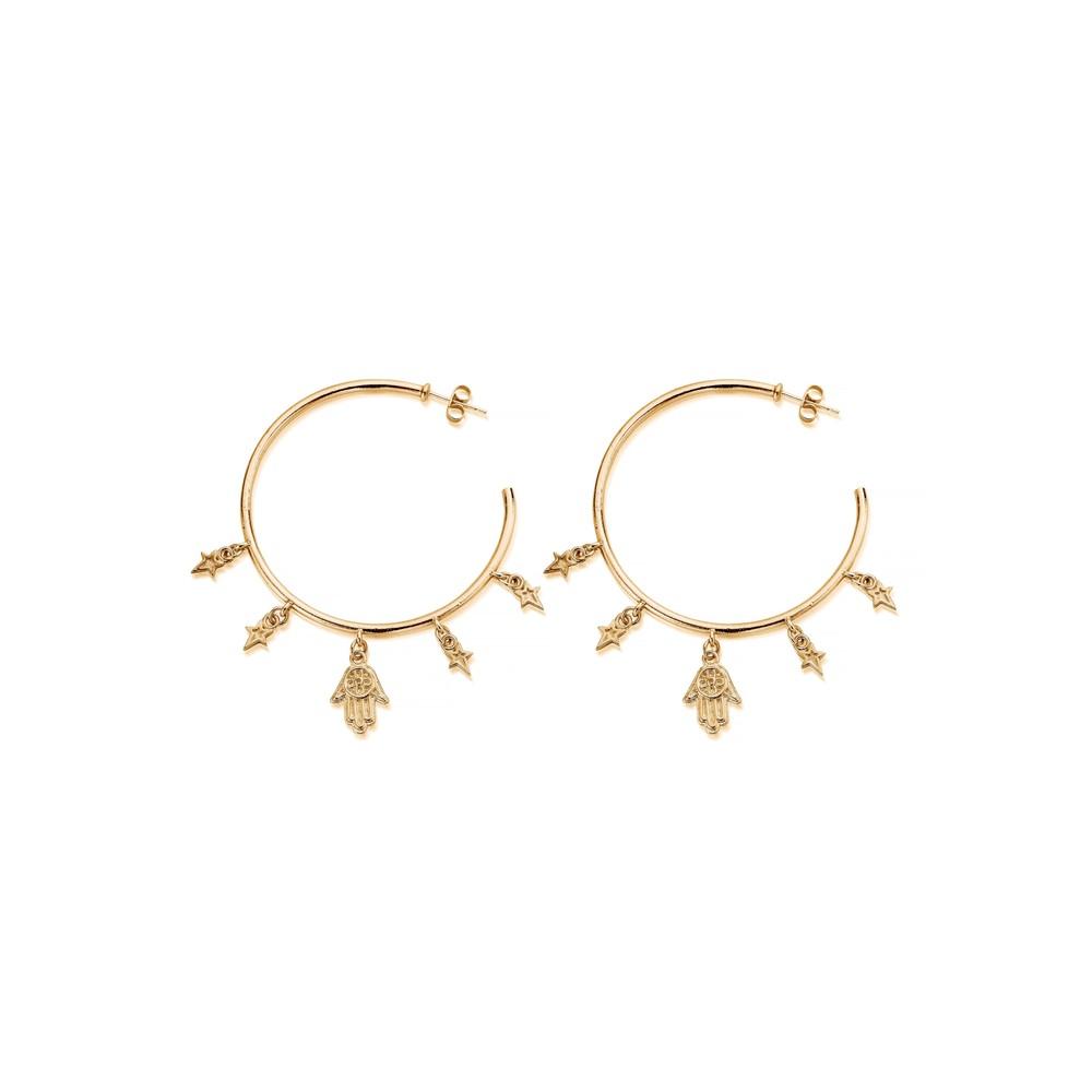 Splendid Star Five Days Of Luck Hoop Earrings - Gold