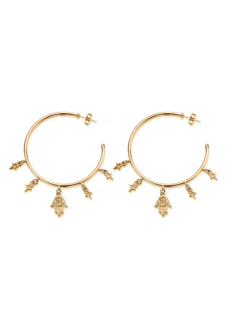 ChloBo Splendid Star Five Days Of Luck Hoop Earrings - Gold main image