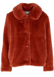 Des Petits Hauts  Lenie Faux Fur Short Jacket - Coing
