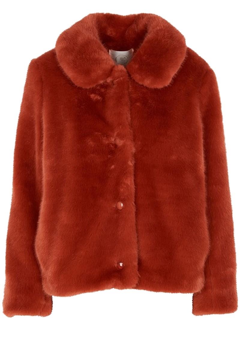 Des Petits Hauts  Lenie Faux Fur Short Jacket - Coing main image