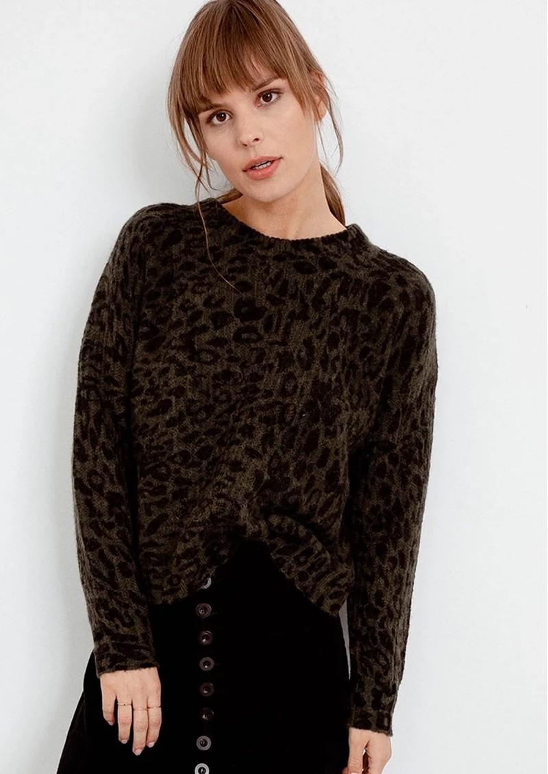 Rails Joanna Leopard Pullover - Olive Leo  main image