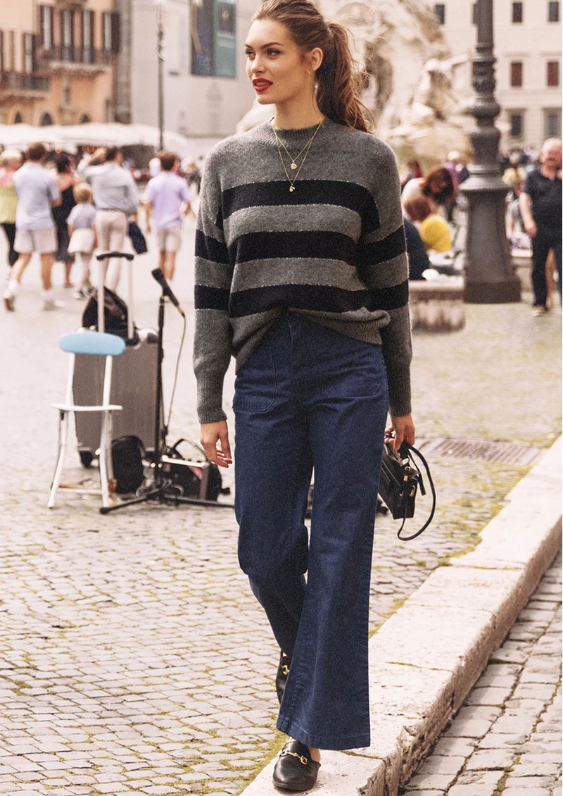 Rails Ellise Stripe Jumper - Charcoal Stripe main image