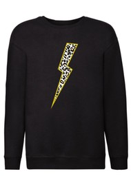ON THE RISE Leopard Lightening Bolt Sweatshirt - Black