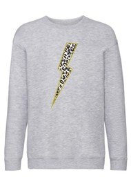 ON THE RISE Leopard Lightening Bolt Sweatshirt - Light Grey