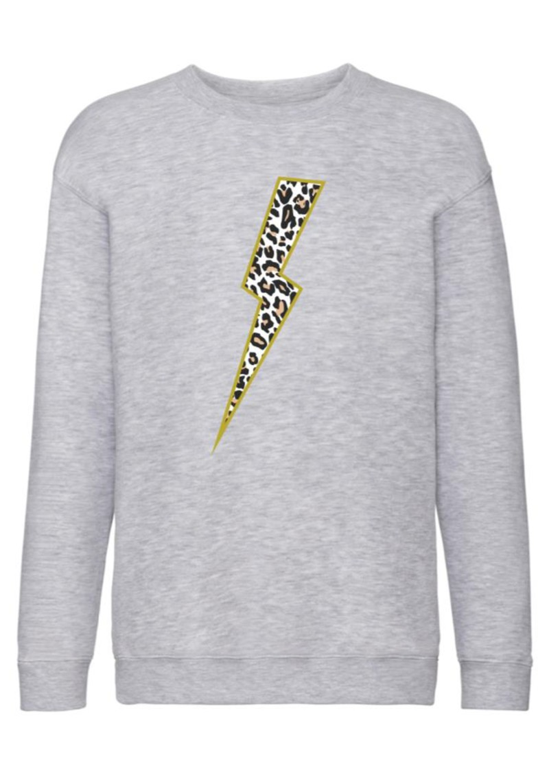 ON THE RISE Leopard Lightening Bolt Sweatshirt - Light Grey main image