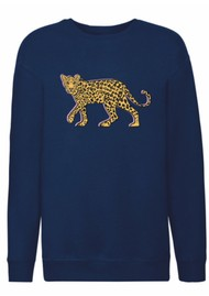ON THE RISE Stalking Leopard Sweatshirt - Navy