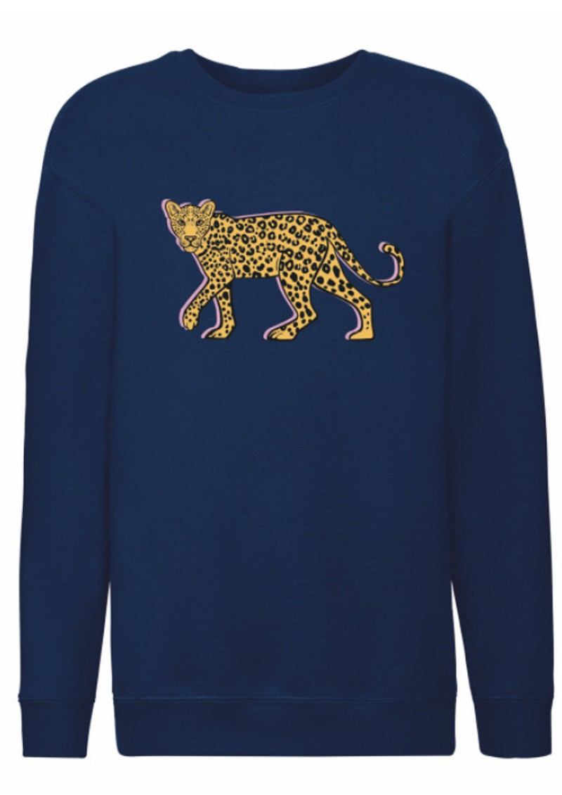 ON THE RISE Stalking Leopard Sweatshirt - Navy main image
