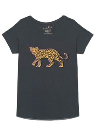 ON THE RISE Stalking Leopard T-Shirt - Washed Black