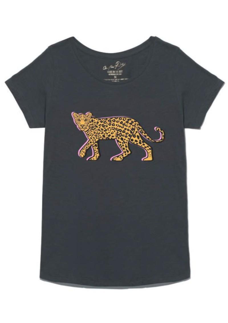 ON THE RISE Stalking Leopard T-Shirt - Washed Black main image