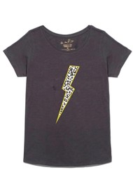 ON THE RISE Leopard Lightening Bolt T-Shirt - Washed Black