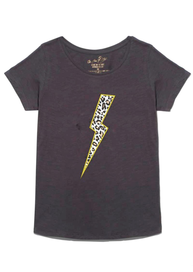 ON THE RISE Leopard Lightening Bolt T-Shirt - Washed Black main image