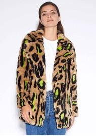 APPARIS Chloe Faux Fur Coat - Neon Leopard