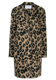 HARRIS WHARF Cocoon Wool Coat - Leopard Tan